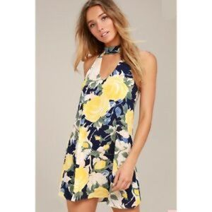 NEW! Lulus Yellow Blue Rose Halter Mini Dress